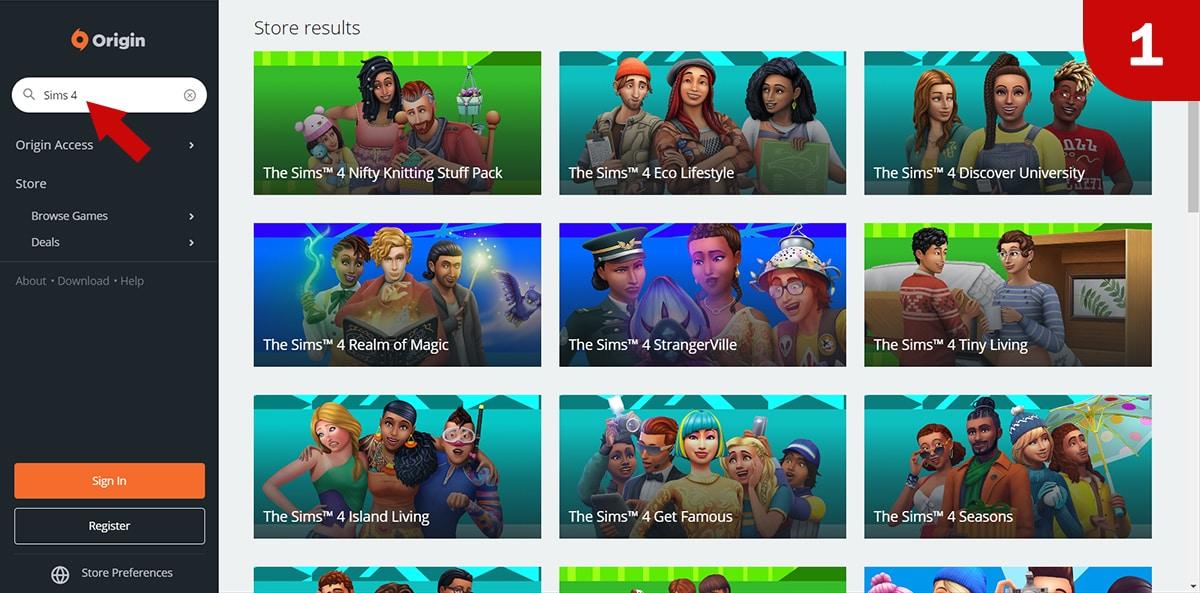 Download Sims 4 games at Origin - Step 1