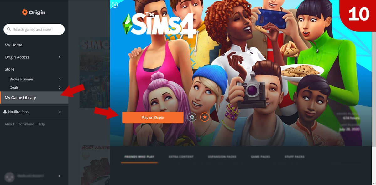 Download Sims 4 games at Origin - Step 10