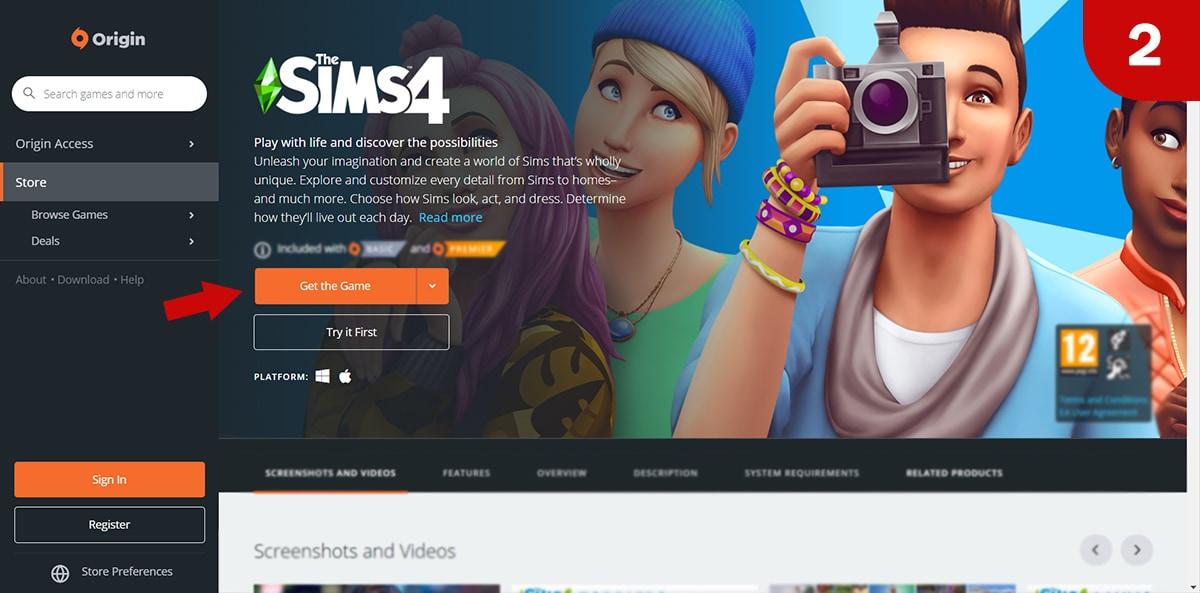 Download Sims 4 games at Origin - Step 2