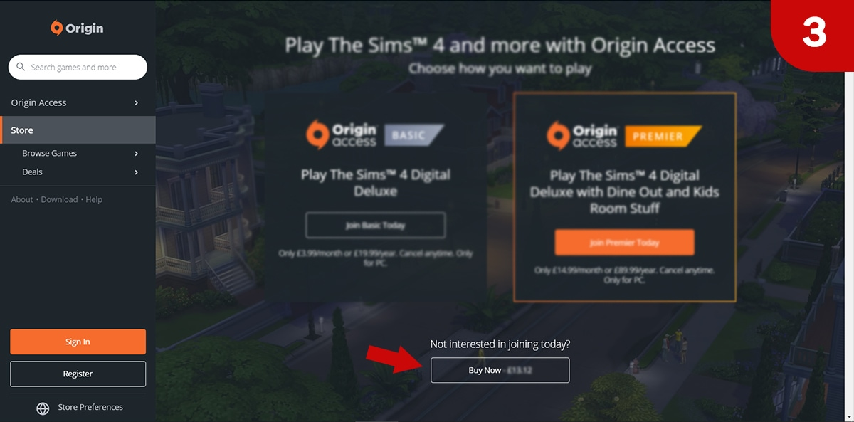 Download Sims 4 games at Origin - Step 3
